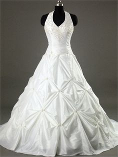 Halter With Embroidery and Ruffles A-line Chapel Train Taffeta Satin Wedding Dress  WD1068 www.tidedresses.co.uk £152.0000