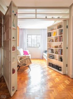 Bookcase doors Clever solution for a tiny apartment. Tiny Apartments, Tiny Spaces, Studio Apartments, Small Apartment Interior, Apartment Living, Living Room, Living Area, Apartment Walls, Apartment Layout