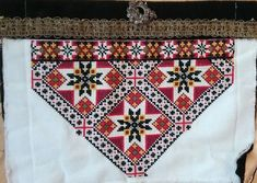 FolkCostume&Embroidery: cross stitched Bringeduk, Bodice insets from Hordaland, Norway Spinning Circle, Scandinavian Embroidery, Swedish Weaving, Bead Crochet Rope, Star Designs, Red Background, Arts And Crafts, Art Crafts, Norway