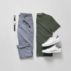 Men Casual T-Shirt Outfit 🖤 Very Attractive Casual Outfit Grid, Komplette Outfits, Casual Outfits, Fashion Outfits, Fashion Shoes, Rugged Style, Casual Wear, Men Casual, Casual Chic, Men With Street Style
