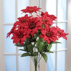 Weather Resistant Red Poinsettia Bush