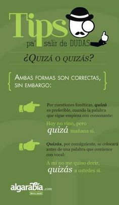 Quizá o Quizás ✿ Spanish Learning/ Teaching Spanish / Spanish Language / Spanish vocabulary / Spoken Spanish ✿ Share it with people who are serious about learning Spanish!