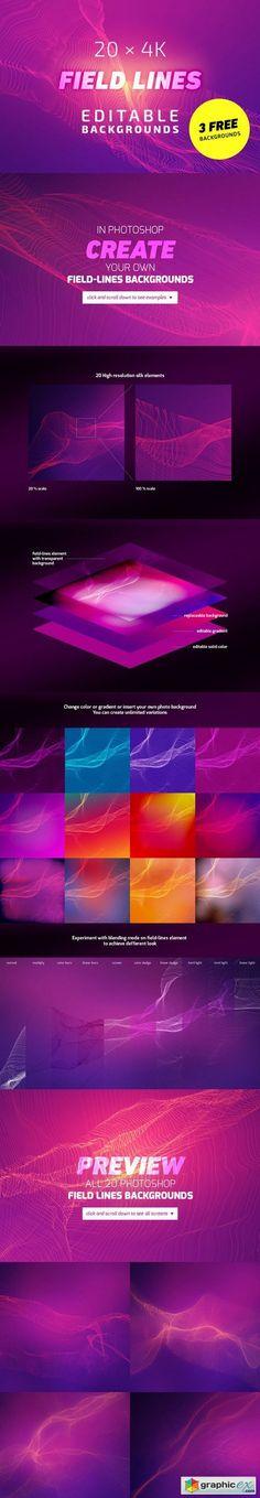 20x4K FieldLines Backgrounds 1  stock images