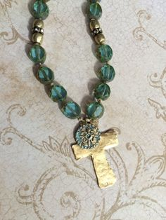 Aqua Czech Picasso Beads with Chunky Gold Cross and Faith Symbol by CambriaBella on Etsy