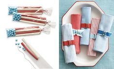 July 4 party favors (candy) and table napkins
