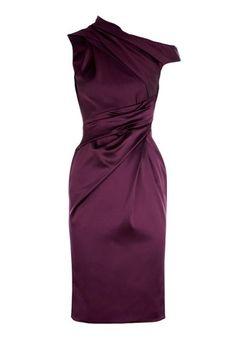 Elegant Sloping Shoulder Ruched Sleeveless Slimming Women's Dress, PURPLISH RED, L in Bodycon Dresses | DressLily.com