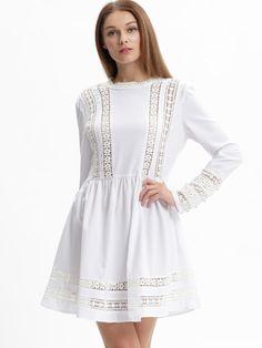 faf9f9a1b548 joefsf Sexy Spitzenkleid, Weißes Langarmkleid, Babydoll-kleid, Kleider  Lang, Süße Blaue