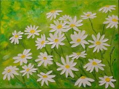 Oil Painting, Original Impasto White Daisies Flowers Painting, Green Yellow Miniature Canvas Art, Floral Wall Decor on Etsy, $85.00