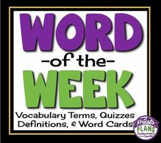Introduce new vocabulary words to your middle and high school students using this word of the day/week resource! You can choose to introduce a new word everyday for 10 weeks, or choose one day a week and have this last the entire school year! =========================================================This Is Included In My Full Year Of Bell Ringers!