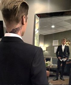 Justin Bieber New Neck Tattoo | Justin Bieber got a new tattoo on the back of his neck, and it's a must-see. #refinery29 http://www.refinery29.com/2015/12/99392/justin-bieber-new-neck-tattoo