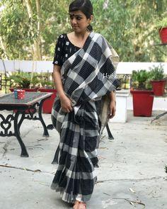 Bengal cotton chequered handloom sari