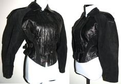 1980s 80s Leather Jacket / REPTILE / EMBOSSED /Suede / Black /Croc / Alligator / Moto / Rocker / Glam / Punk / fits XS - pinned by pin4etsy.com