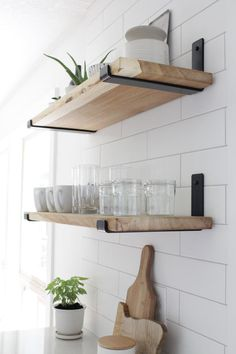 diy Shelves brackets - Metal Shelf Brackets, Heavy Duty J Bracket for Floating Shelf, As Seen in Becki Owens Kitchen Floating Shelves Kitchen, Kitchen Wall Shelves, How To Make Floating Shelves, Making Shelves, Corner Shelves, Diy Wood Shelves, Building Floating Shelves, Black Shelves, Rustic Shelves