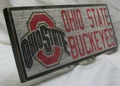 Ohio State Buckeyes wall sign distressed by Bobsvintagesigns