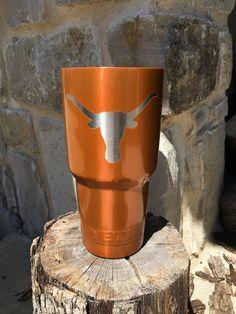 UT #longhorn #YETI Burn Orange - incredible gift! Texas Longhorns Football, Ut Longhorns, Diy Tumblers, Custom Tumblers, Eyes Of Texas, Longhorn Cattle, Hook Em Horns, Incredible Gifts, Gift Ideas