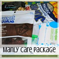 Care Package: Manly Man Theme  // Love From Home  Care Package Essentials // Love From Home Ideas for for deployed sister & for when my husband deploys again. Or I could just use these ideas for an everyday gift box arrangement.   This is a husband type of care package. Lmao. MANLY.