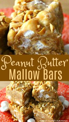 Whether you're hosting a birthday party, packing for a picnic or making sweets for the holidays, Peanut Butter Mallow Bars will make a fabulous addition. Peanut Butter Desserts, Peanut Butter Bars, Köstliche Desserts, Holiday Desserts, Delicious Desserts, Peanut Candy, Marshmallow Peanut Butter, Marshmallow Desserts, Peanut Butter Muffins
