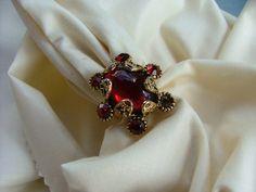 Vintage Red Rhinestone HOLLYCRAFT  Ring by vintagemarbles on Etsy, $20.00