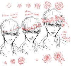 Drawing a Flower's wreath tutorial - on bakrua.tumblr.com