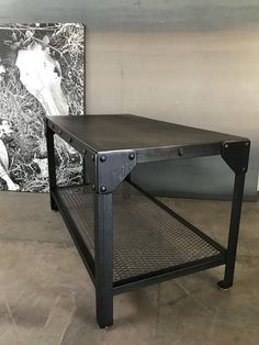 Solid hand blackened steel coffee table, steel end table, metal industrial coffee table with lower shelf Industrial Design Furniture, Vintage Industrial Furniture, Industrial Interiors, Industrial Shelving, Furniture Design, Modern Industrial, Decor Industrial, Industrial Shop, Industrial Bookshelf