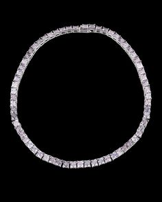 """Spinel Necklace, 50.61 Carats~ Sixty-five captivating Asscher-cut spinels sparkle in this understated choker necklace. Exhibiting a soft purplish-gray hue, the gems weigh a combined 50.61 carats and are set in a classic 18K white gold setting.14"""" length ~M.S. Rau Asscher Cut, Rare Gemstones, Alexandrite, Peridot, Hue, Garnet, Chokers, Sparkle, White Gold"""