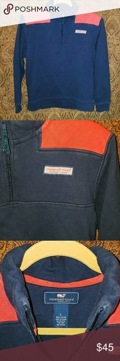 Boys LG Vineyard Vines Shep Boys pullover in navy and coral. In great shape! Vineyard Vines Shirts & Tops