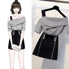 Striped shirts top and button a line skirt two piece button piece shirts skirt striped dressdrawing fashion figure template 10 head buy this stock vector and explore similar vectors at adobe stock adobe stock Teen Fashion Outfits, Kpop Fashion, Mode Outfits, Cute Fashion, Stylish Outfits, Korean Fashion, Classy Fashion, Skirt Outfits, Ladies Fashion