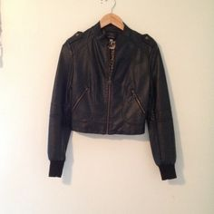 Leather jacket Black moto jacket never worn with zipper pockets and in great condition! Boutique Jackets & Coats