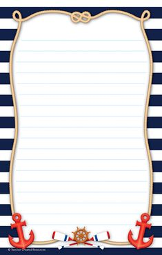 - Nautical Notepad, This notepad measures x and contains 50 sheets Free Printable Stationery, Printable Baby Shower Invitations, Baby Shower Printables, Nautical Photo Booth, Sailor Theme, Boarders And Frames, Pirate Crafts, Page Borders Design, Project Life Cards