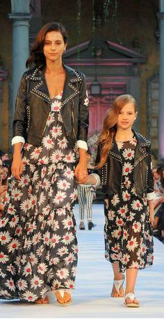 105a048094babb MONNALISA CHIC Girls Mommy & Me Black Floral Print Dress Leather Jacket.