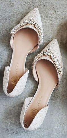 Jeweled lace flats