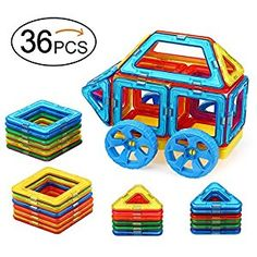 Amazon.com: Quadpro 36 Piece Magnet Tiles Magnetic Building Blocks for Kids, Standard Set with Wheel: Toys & Games