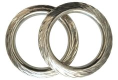 Textured Silver Tribal Bangles, Pair