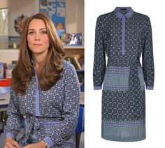 Shop Jaeger Silk Tile Print Shirt Dress as seen on Duchess of Cambridge. Copy Princess Kate's style with the best repliKate dresses for less! Kate Middleton Pregnant, Kate Middleton Outfits, Kate Middleton Style, Kate Dress, Isabel Ii, Dresses For Less, Royal Fashion, Sophisticated Style, Printed Shirts