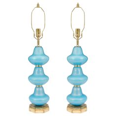Midcentury Pair of Blue Murano Glass Table Lamps with Gold Flecks | From a unique collection of antique and modern table lamps at https://www.1stdibs.com/furniture/lighting/table-lamps/