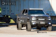 This 2003 Chevrolet Avalanche is running Fuel Driller wheels Federal Couragia MT tires with Custom Suspension Lift suspension. Lifted Avalanche, Avalanche Chevrolet, Chevy Girl, Stance Nation, New Trucks, Hot Rods, Monster Trucks, Vehicles, Wheels