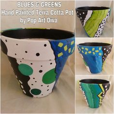 Blues and Greens Hand Painted Terra Cotta Plant Pot by PopArtDiva, $40.00