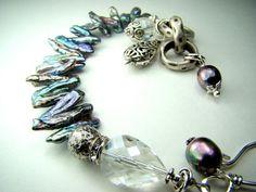 Blue pearl bracelet stick pearls charm bracelet by strandsofgrace, $49.00