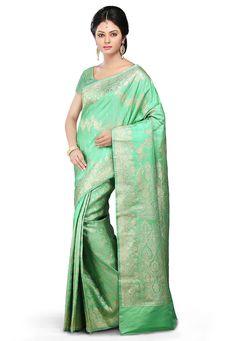 Buy Sea Green Art Banarasi Silk Saree with Blouse online, work: Woven, color: Sea Green, usage: Wedding, category: Sarees, fabric: Art Silk, price: $197.30, item code: SHR265, gender: women, brand: Utsav