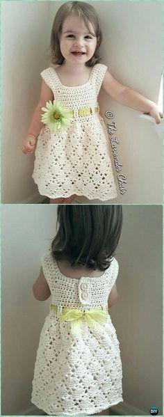 Crochet Vintage Toddler Dress Free Pattern - Crochet Girls Dress Free Patterns