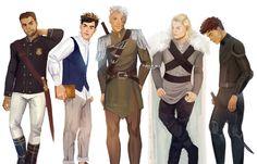 Men from Throne of Glass by Tasiams // Chaol, Dorian, Rowan, Aedion, Sam