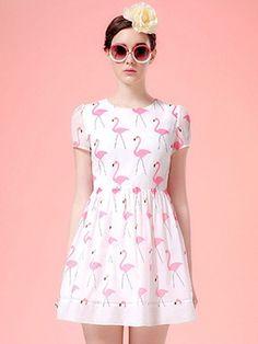 White, Swan Print, Short Sleeve, Skater Dress, Mini Dress