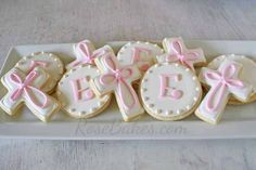 Rose Bakes | Baby Girl Baptism Cake, Cookies and Cake Pops | http://rosebakes.com Baptism Reception, Baptism Party, Girl Baptism Cakes, Baptism Cake Pops, Baby Girl Christening Cake, Girl Baptism Decorations, Baptism Cookies, Baby Girl Baptism, Christening Party
