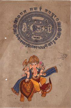 Ganesha Lion Art Handmade Indian Miniature Ethnic Ganapathi Hindu Folk Painting Baby Ganesha, Ganesha Art, Ganesha Pictures, Indian Goddess, Lion Art, Elephant Head, Country Of Origin, Handmade Art, Indiana
