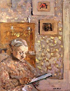 Madame Vuillard with Wallpaper / Edouard Vuillard - circa 1910
