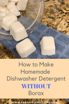 Learn how easy it is to make homemade dishwasher detergent without borax. This DIY dishwasher detergent will keep harmful chemicals off your dishes and out of the water supply. #ecofriendly #cleaning #DIY