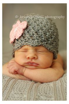 Crochet Baby Hat - Girl Gray with Pink Flower Hat - Ready to Ship - 1-3 Months. $12.00, via Etsy.