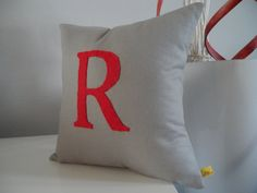 Custom Monogram Pillow Appliqued 12x12 Cotton Fabric Eco Felt Handmade Gray Pillow Red Pillow