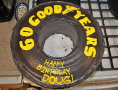 Nascar Tire cake for Mark's Bday possibility 60th Birthday Cakes, Birthday Fun, Birthday Parties, Birthday Ideas, 6 Cake, Cake Cookies, Cupcake Cakes, Nascar Cake, Nascar Party