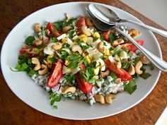 Winter Pea Salad Plate with Tomatoes and Cashews, winter salads are so delicious!